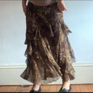 Ralph Lauren brown tan safari floral maxi skirt